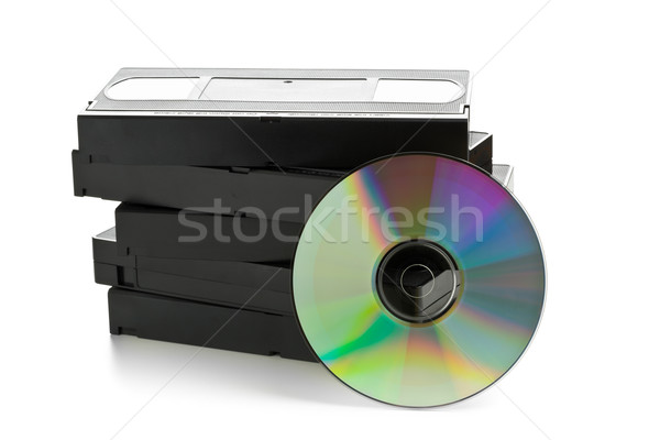 Stack of analog video cassettes with DVD disc Stock photo © ShawnHempel