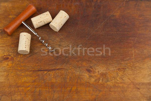 Dugóhúzó bor háttér keret asztal alkohol Stock fotó © ShawnHempel