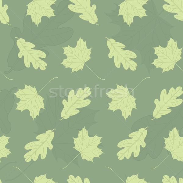 Green maple and oak leaf tileable pattern Stock photo © ShawnHempel