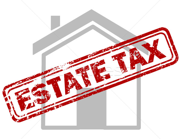 Red estate tax rubber stamp on grey house or building icon Stock photo © ShawnHempel