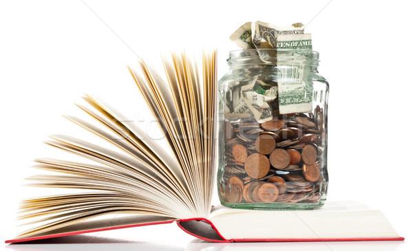 Oktatás finanszírozás könyvek penny bögre érmék Stock fotó © ShawnHempel