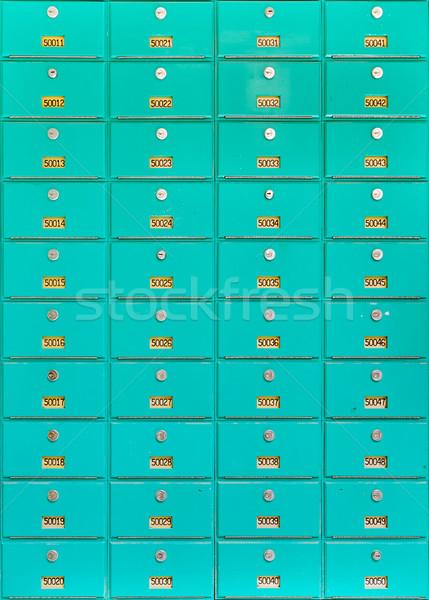 Groot aantal groene metaal textuur mailbox Stockfoto © ShawnHempel