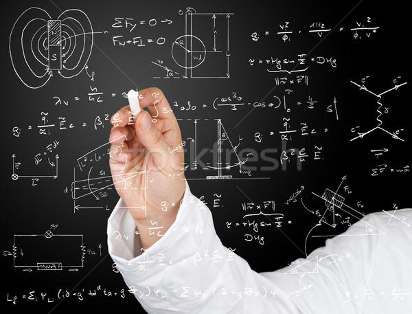 Foto d'archivio: Fisica · diagrammi · formule · ricerca · scienziato · iscritto