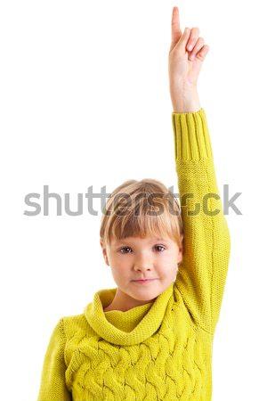 Girl raising hand Stock photo © ShawnHempel