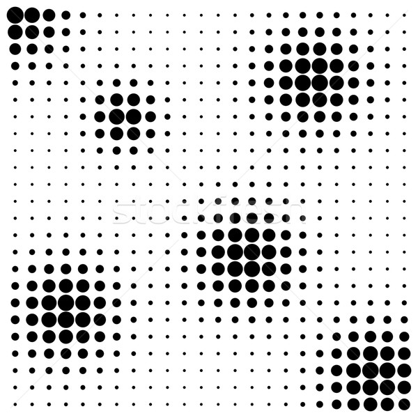 Halftone spheres abstract black background isolated on white Stock photo © ShawnHempel