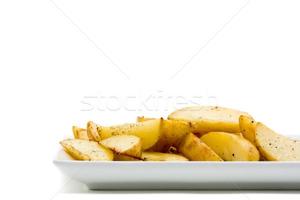 Aardappel vers handgemaakt plaat witte hand Stockfoto © ShawnHempel