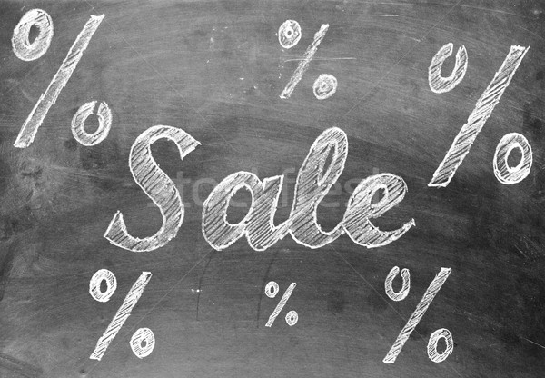 Sale chalk writing with percentage signs on chalkboard Stock photo © ShawnHempel