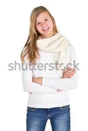 Fiatal lány farmernadrág tél kabát csizma áll Stock fotó © ShawnHempel