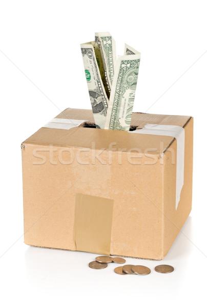 Adomány kartondoboz dollár bankjegyek érmék karton Stock fotó © ShawnHempel