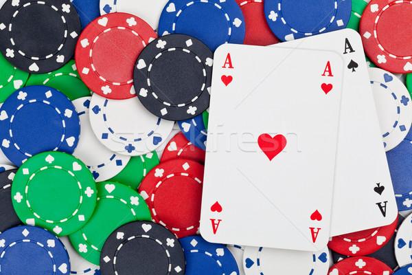 ポケット エース ペア カジノチップ ギャンブル ポーカー ストックフォト © ShawnHempel