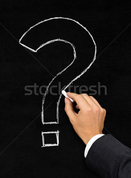 Сток-фото: вопросительный · знак · рисунок · мелом · доске · мужчины · бизнесмен · рисунок