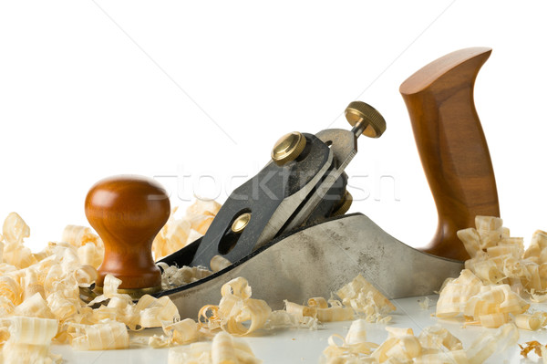 Carpenters woodworking hand planer work tool on wood table in wo Stock photo © ShawnHempel