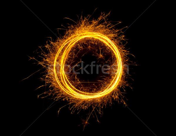 Tűz kör pezsgő izzó gyűrű izolált Stock fotó © ShawnHempel