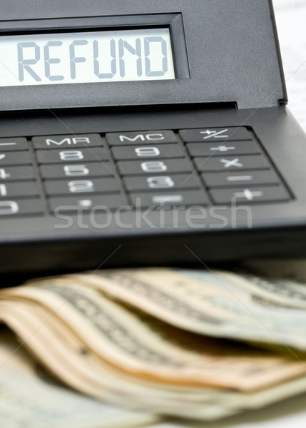 Adó viszzafizetés számítás bank jegyzetek számológép Stock fotó © ShawnHempel