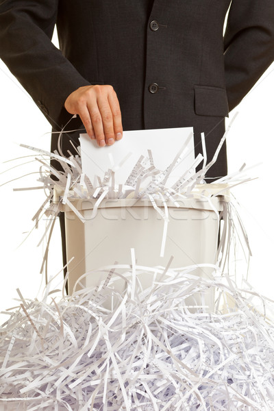 Desfibradora hombre de negocios confidencial documentos oficina seguridad Foto stock © ShawnHempel