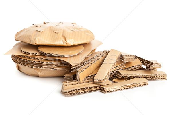 картона Burger фри чизбургер картофель фри нездорового питания Сток-фото © ShawnHempel