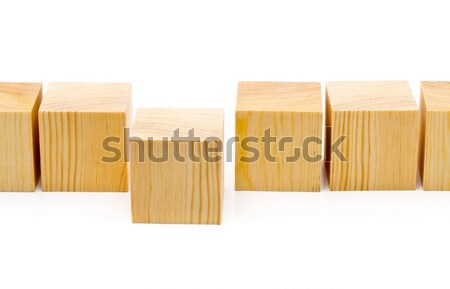 Stepping forward or outstanding concept - row of wood blocks Stock photo © ShawnHempel