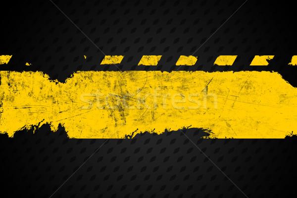 Grunge distressed yellow road marking paintbrush stroke banner o Stock photo © ShawnHempel