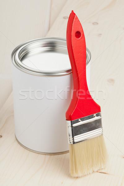 絵画 準備 赤 ペイントブラシ ペンキのバケツ 木製 ストックフォト © ShawnHempel