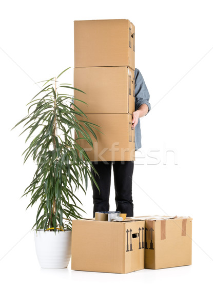 Man lifting moving carton boxes Stock photo © ShawnHempel