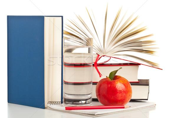 книгах яблоко открытой книгой блокнот карандашом Сток-фото © ShawnHempel