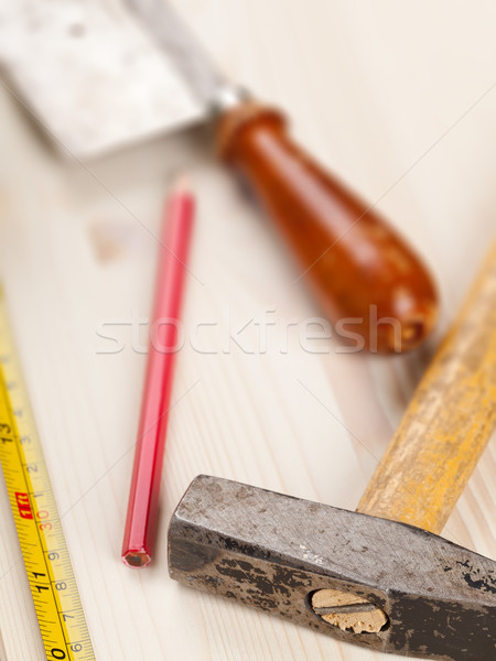 Home improvement houten plank maat tape tools Stockfoto © ShawnHempel