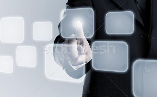 Display exemplaar ruimte zakenman aanraken graphics Stockfoto © ShawnHempel