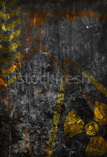 Velho grunge preto metal prato radiação Foto stock © ShawnHempel
