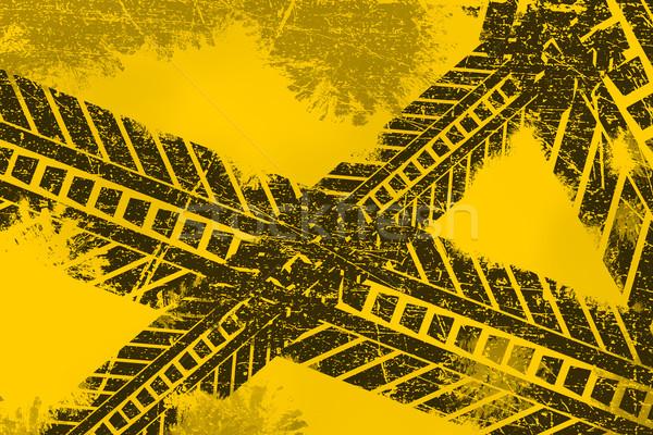Grunge distressed black tire track road marking paintbrush strok Stock photo © ShawnHempel