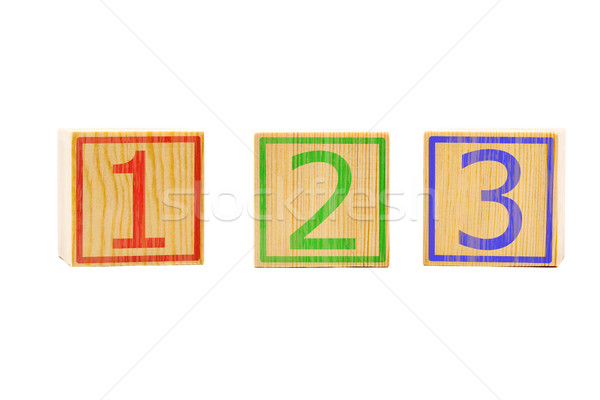 Three brown wooden cubes lined up in a row with numbers one, two Stock photo © ShawnHempel