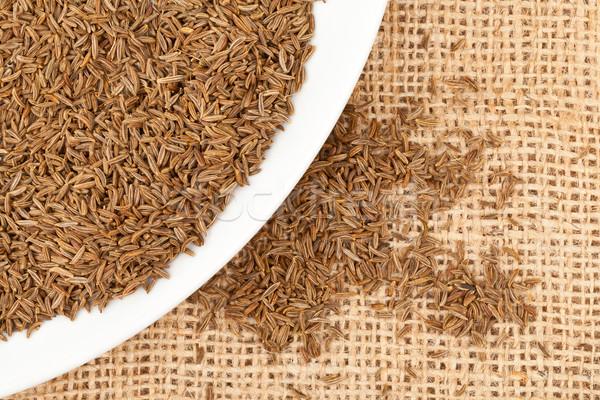 Kminek kminek nasion tablicy konopie tkaniny Zdjęcia stock © ShawnHempel