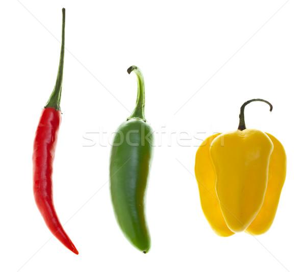 Jalapeno isolé blanche alimentaire rouge légumes Photo stock © ShawnHempel