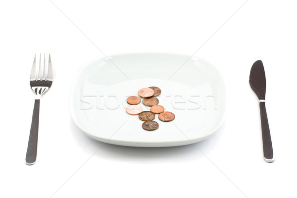 Plate with coins Stock photo © ShawnHempel
