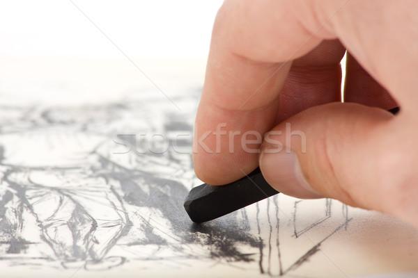 Tekening hand schilderij grafiet krijt Stockfoto © ShawnHempel