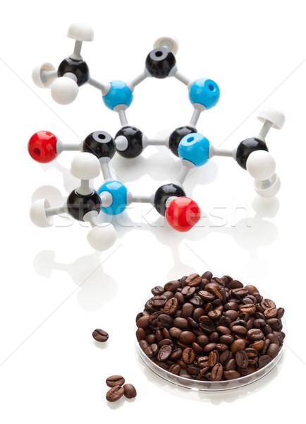 Caffeine molecule with coffee beans Stock photo © ShawnHempel