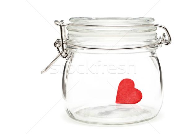 Megőrzött szív kicsi piros üveg fehér Stock fotó © ShawnHempel