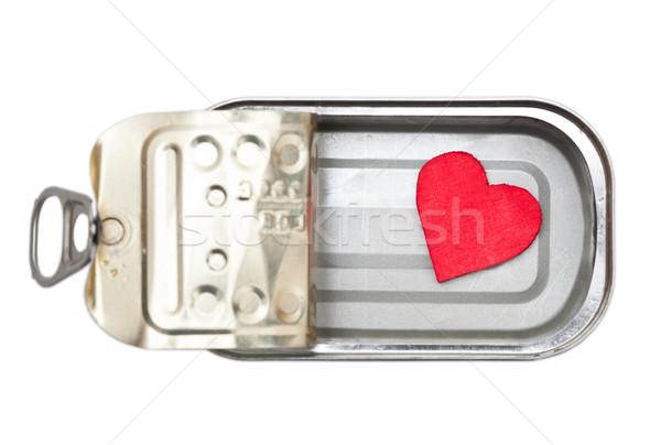 Megőrzött szív kicsi piros konzervdoboz konzerv Stock fotó © ShawnHempel