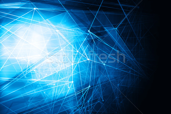 Abstract blue polygon mesh wireframe and lines glowing technolog Stock photo © ShawnHempel