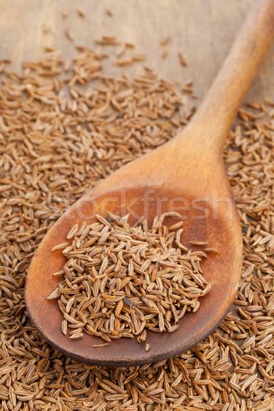 Karwij zaden lepel gedroogd komijn Stockfoto © ShawnHempel