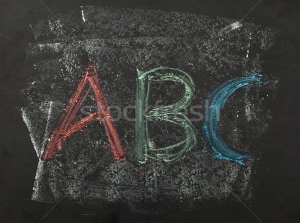 Kréta ír írott használt tábla vissza az iskolába Stock fotó © ShawnHempel