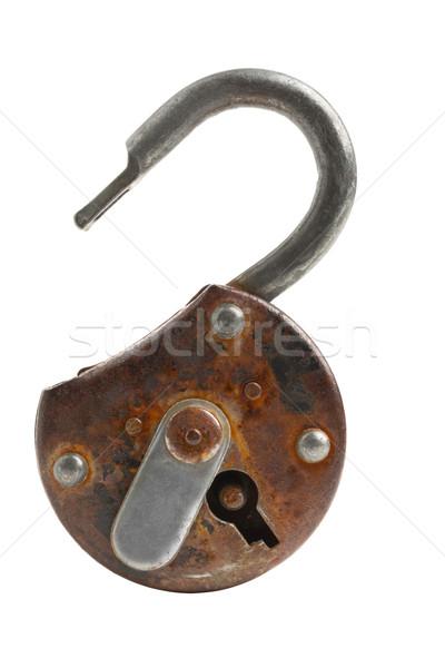 Ouvrir antique cadenas vieux rouillée isolé Photo stock © ShawnHempel