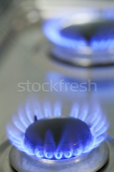 Benzin tűzhely közelkép földgáz lángok égő Stock fotó © ShawnHempel