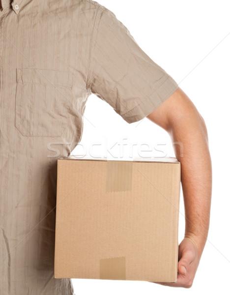 Pakketdienst man karton vak levering Stockfoto © ShawnHempel