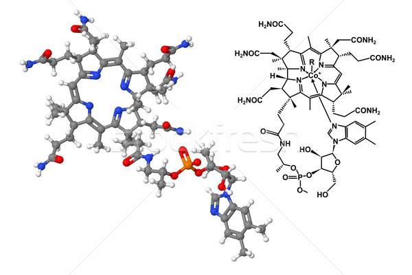 Zdjęcia stock: Witamina · chemicznych · wzoru · odizolowany · biały · model