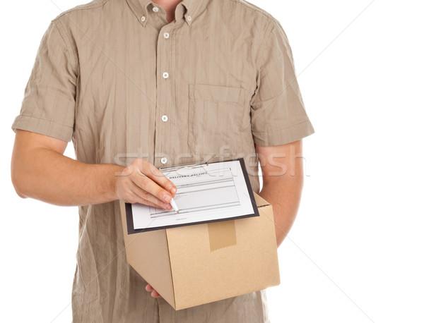 Pakketdienst man karton vak vorm Stockfoto © ShawnHempel