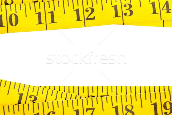Amarillo medición cinta frontera blanco textura Foto stock © ShawnHempel