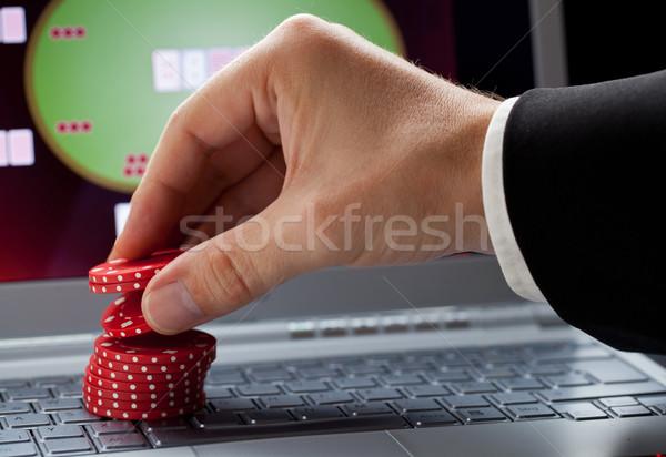 Stockfoto: Online · gokken · speler · chips · laptop · casino