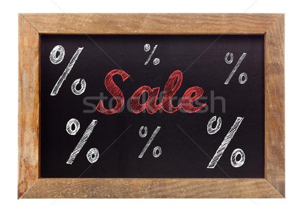 Vente craie écrit pourcentage signes tableau Photo stock © ShawnHempel