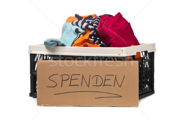Plástico cuadro ropa donaciones cartón signo Foto stock © ShawnHempel