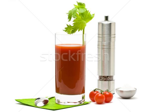 Krwawy pić wódki sok pomidorowy soli Zdjęcia stock © ShawnHempel